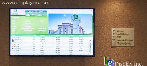 Digital Signage at Holiday Inn, Calgary International Airport by E Display Inc.