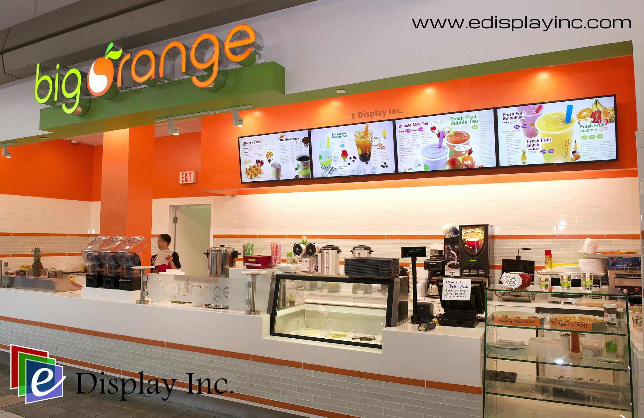 E Display Digital Menu Boards for Big Orange.