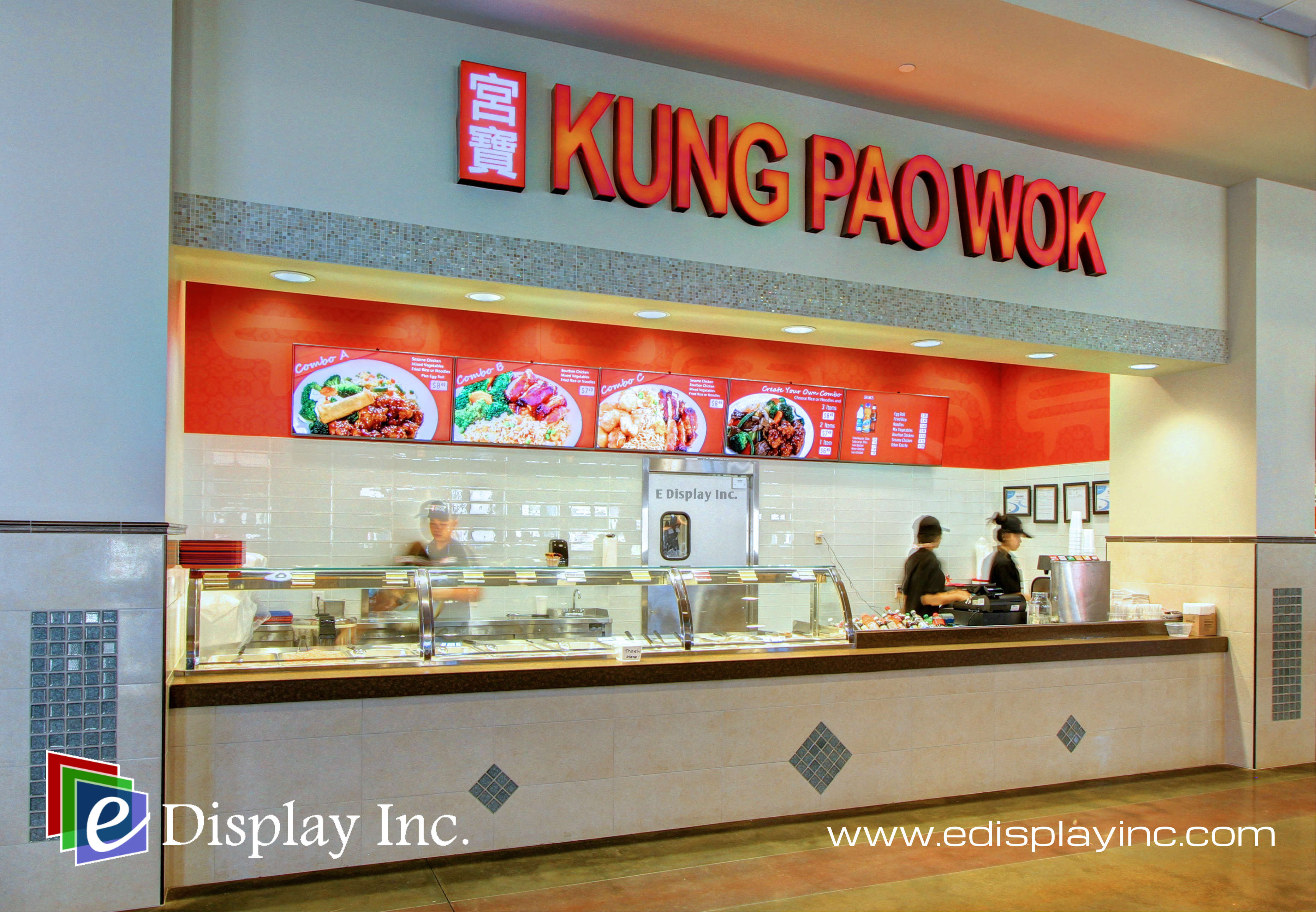 E Display Deploys Digital Menu Boards at Kung Pao Wok in Charlotte Premium Outlets in Charlotte, North Carolina.