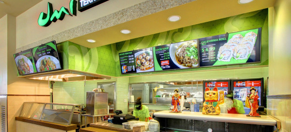 E Display Deploys Digital Menu Boards at Umi Sushi Express in Charlotte Premium Outlets in Charlotte, North Carolina.