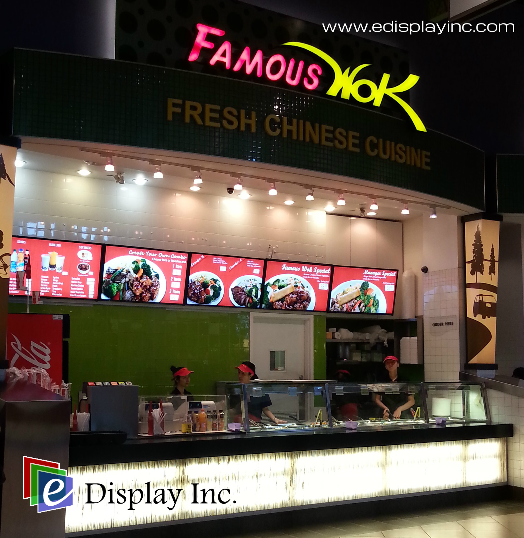 E Display Deploys Digital Menu Boards at Famous Wok Cross Iron Mills, Calgary, Alberta.