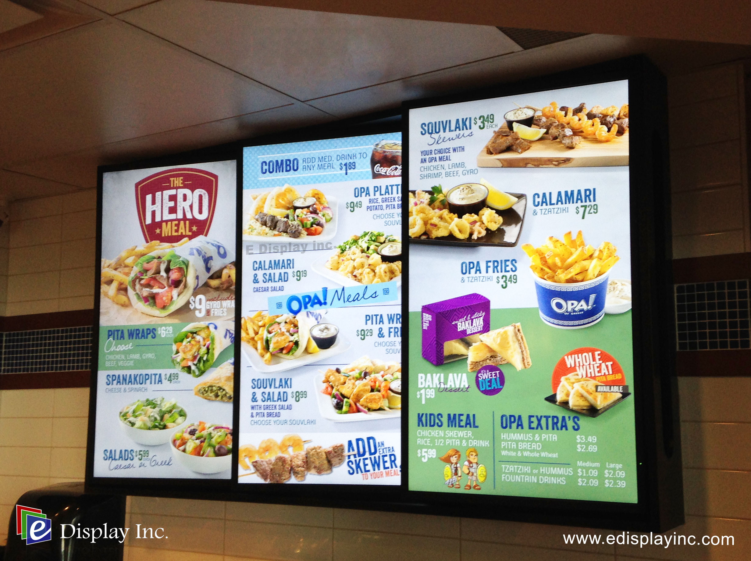 E Display Deploys Digital Menu Boards at OPA! Suncor Energy Centre, Calgary, Alberta